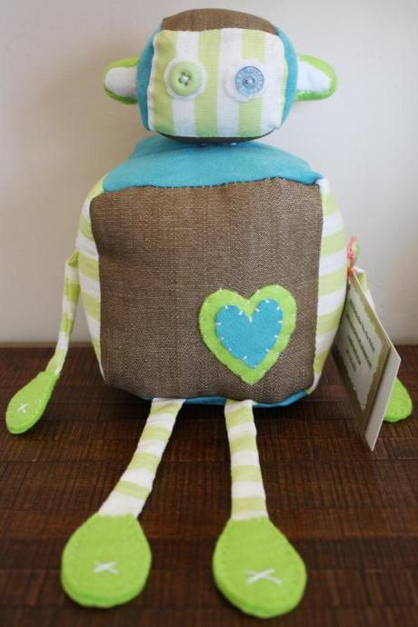 BOObeloobie Reu the Robot in Tan denim, blue suede and green and white striped cotton