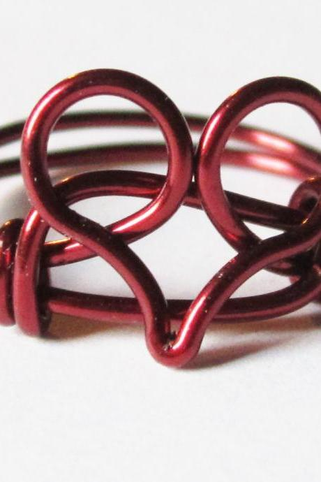 Limited Edition Burgundy Heart Ring for Valentine's Day