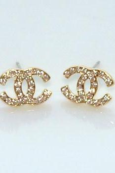 Dazzling Rose Gold Plated Pink Rhinestone Earrings