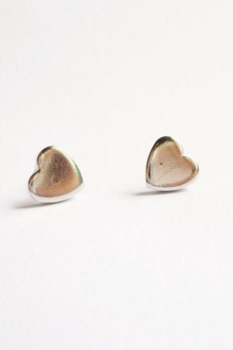 SALE - Small Silver Plated Heart Stud Earring - Gift under 10 - 8 mm - Valentine Gift