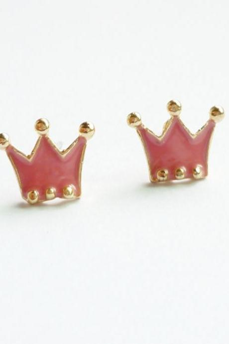 SALE - The Prince - Pink Enamel on Crown Gold Setting Ear Studs - gift under 10
