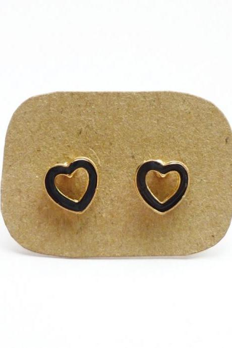 SALE The Black Love - Black Enamel on Hollow Heart Gold Setting Ear Studs - 10 mm - Gift under 10