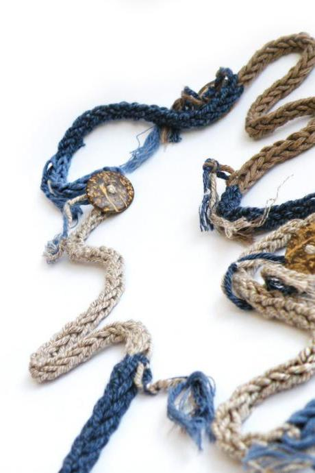 Extra Long Crochet Necklace Blue Brown Natural Cotton Layering Necklace Spring Summer Fashion by SteamyLab