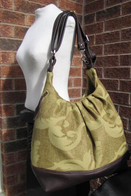 Extra large canvas bag with leather straps, base, and zipper top closure convertible backpack purse - Olive