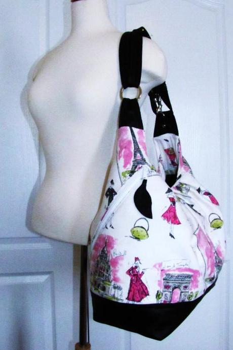 Extra large pink cotton convertible backpack with leather straps, base, zipper top closure - Pink Paris