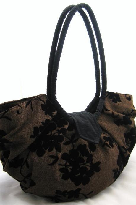 Large brown pleated hobo bag classic purse - Java black floral