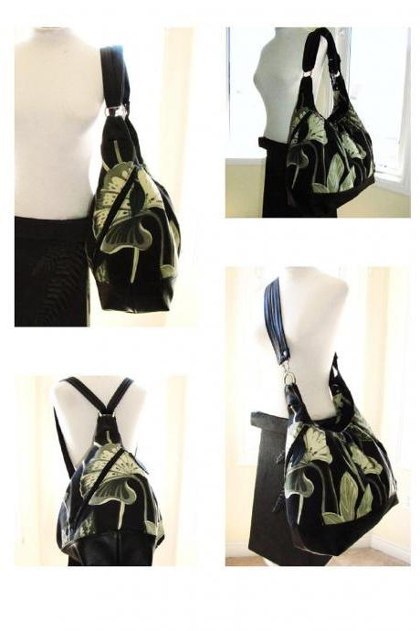 Extra large diaper bag/ convertible backpack canvas with leather straps & bottom/Black floral - Tango Carviar