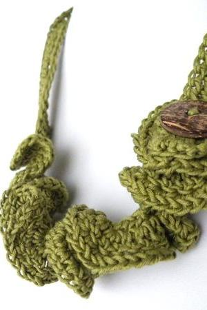 Crochet Necklace. Olive Green, Spring Summer Fashion French Eco-Cotton,Wavy, Coconut Button, Soft, Fresh Ideas, Handmade by SteamyLab.