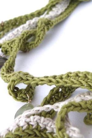 Long Multi Strand Crochet Necklace Spring Summer Fashion French Eco-Cotton Olive Green Cream Glass Beads Handmade by SteamyLab.