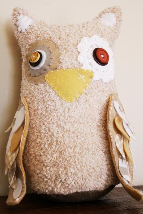 BOObeloobie Large Orli the Owl in Cream, mushroom and white with stripe and check detail