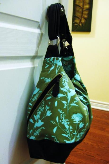 XL convertible cross body bag with leather straps, zipper top closure, and bottom - Sage green wildflower