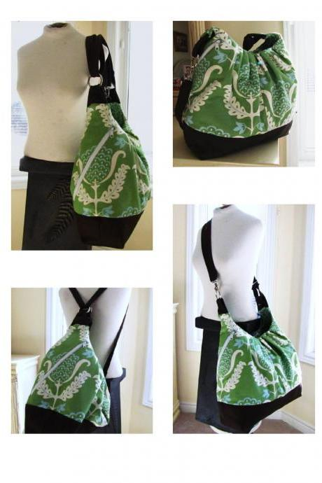 Extra large cotton tote bag, convertible backpack with leather - Green Mint Juplet