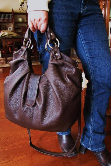 Large brown leather hobo bag, pleated, satchel, boston bag - Chocolate brownie