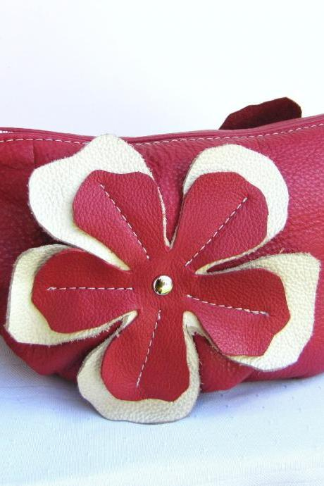 Red Leather clutch with flower appliques - Watermelon