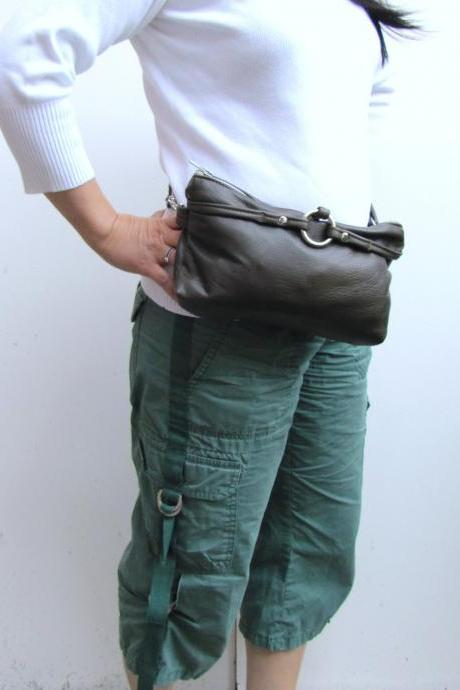 Fanny Pack Leather - Olive green hand-free waist pouch