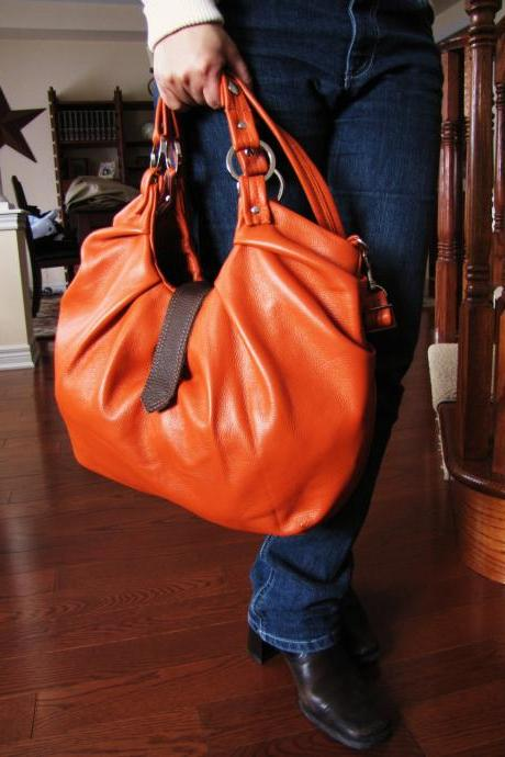 Large orange leather bag, pleated purse. Boston bag, convertible backpack purse - Tangerine Tango