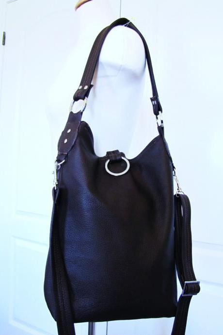 Brown leather slim purse, fold over tote bag, Large size, 3 way slouchy bag - Chocolate
