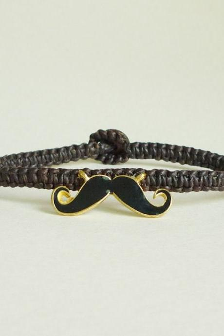 Mustache Bracelet - Black Mustache Bracelet - Wax Cord Bracelet - Gift under 15 - Gift for Him - Unisex Jewelry