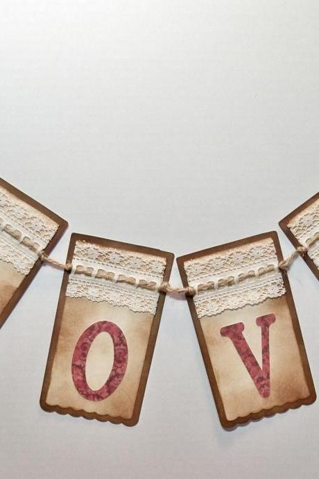 Wedding Valentine LOVE with hearts banner/ wedding garland / valentine decoration