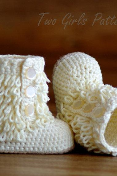 Crochet Baby Boot Pattern - Furrylicious Booties - Pattern number 200