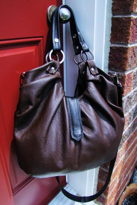 Large dark brown Leather purse, convertible backpack, messenger, shoulder bag - Brownie
