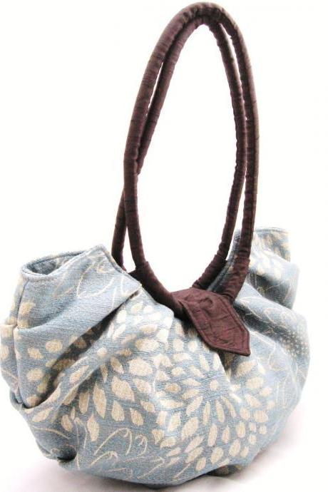 Large blue floral canvas purse, pleated hobo bag - blue blossom