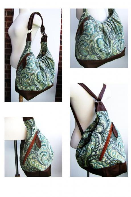 Green paisley canvas bag, extra large 3 ways convertible tote w/ leather straps, base, zipper top closure - Paisley