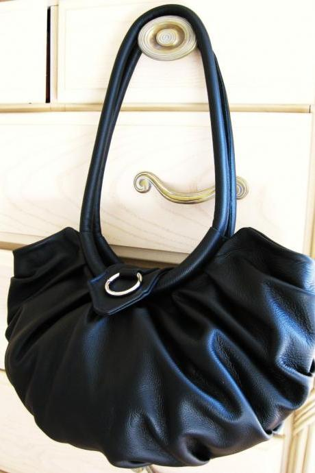 Black Leather purse, pleated Lotus hobo bag