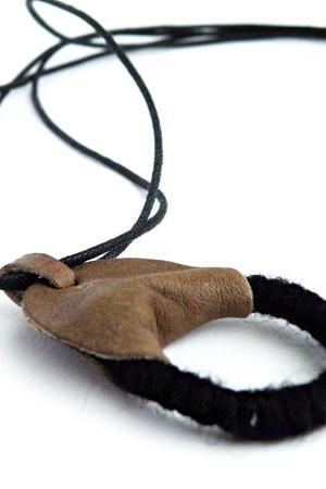 Tribal Pendant Necklace Felted Wool Recycled Leather Black Brown Fall Winter Fashion Jewelry by SteamyLab