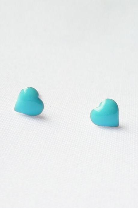 SALE - Turquoise Blue Heart Stud Earrings - Gift under 10 - Valentine gift