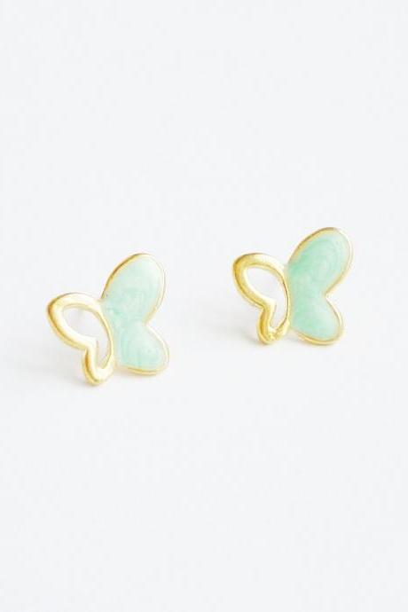 SALE - Large Mint Green Gold Butterfly Stud Earrings - Gift under 10