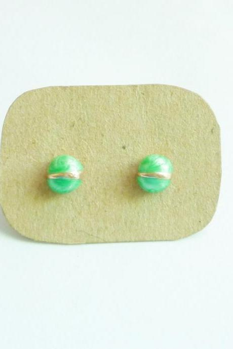 SALE - Green Bug Stud Earrings - Gift under 10