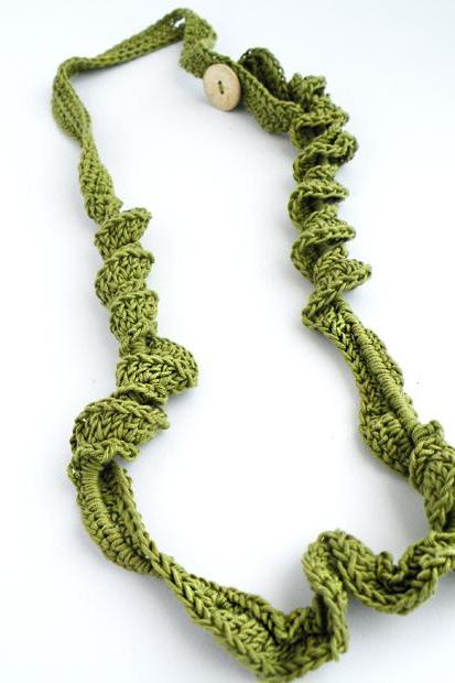 Crochet Long Necklace Olive Green French Cotton Spring Fashion Jewelry Coconut Button Handmade by SteamyLab