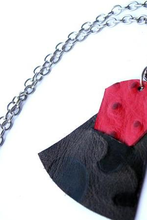 Long Pendant Necklace Printed Leather Red and Brown. Modern Necklace Modern Jewelry. SteamyLab.