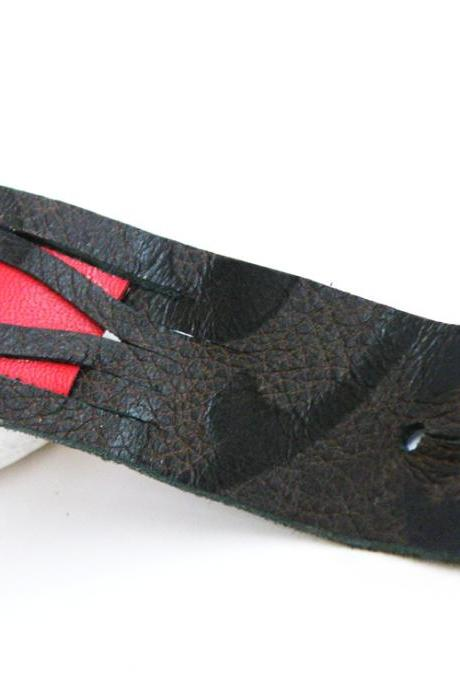Printed Leather Cuff Tribal Wristband Brown Red Fashion Accessories For Her Design by Steamylab