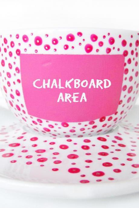 Pink Chalkboard cup with hot pink and silver dots, chalkboard cup, personalized cup
