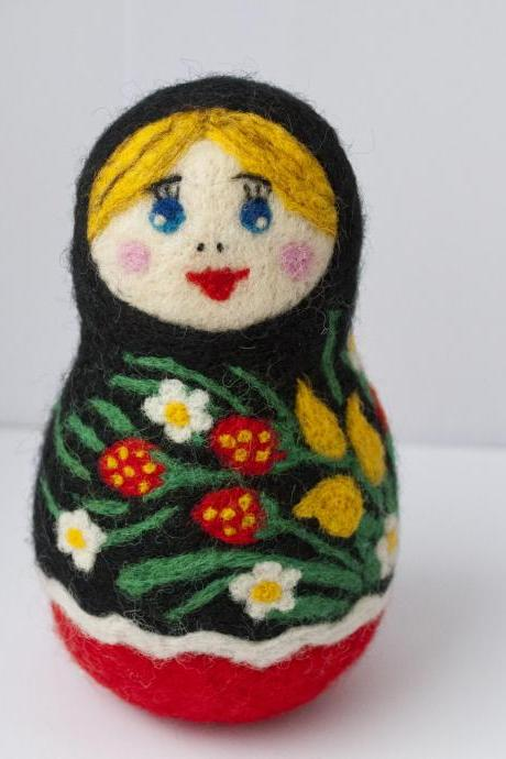 Needle Felted Matryoshka, Russian Doll, Ooak, Flower, black, red, yellow, green