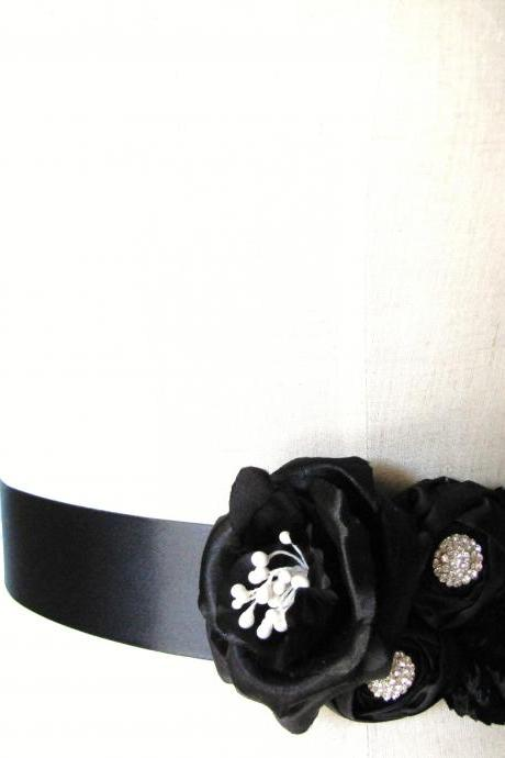 Handmade Rhinestone Wedding Bridal Sash Belt in Black Off White and Pure White - Bridesmaids Sash