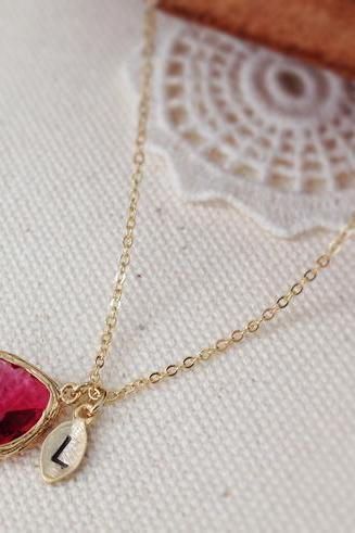 Ruby Stone Necklace With Initial Leaf Charm, Affordable Bridesmaid Gift