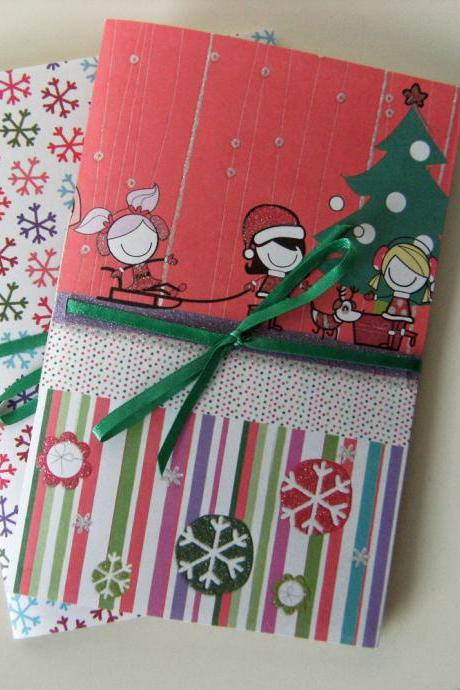 Winter Fun Pair of Pocket Notebooks with Bling, glitter, snowflakes and fun
