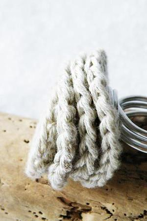 Crochet Deco Rose Ring Ivory Cotton Wire Wrapped Aluminum Women Accessories Italian Fashion by SteamyLab.