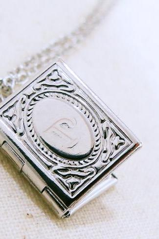 Secret Initial Book Locket Necklace