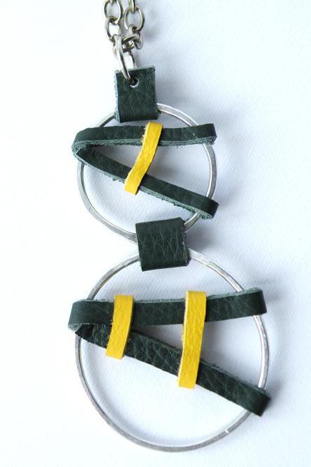 Long Pendant Necklace Hammered Aluminum Geometric Pendant Green and Yellow Leather Fashion Accessories