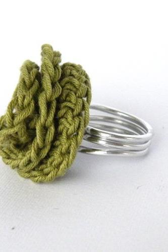 Wire Wrapped Crochet Deco Rose Ring. Aluminum. Olive Green. Cotton. Chic. Trendy. Handmade by SteamyLab