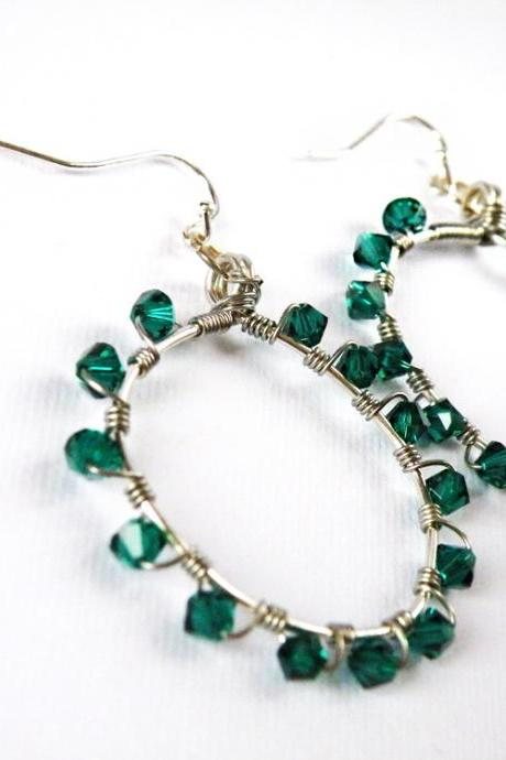 May Birthstone Emerald Green Swarovski Crystals Hoop Earrings Birthstone Jewelry Wire Wrapped Hoops by SteamyLab