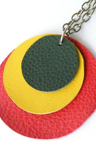 Long Geometric Necklace Long Pendant Necklace Hippie Red Yellow Green Leather Modern Handmade by SteamyLab