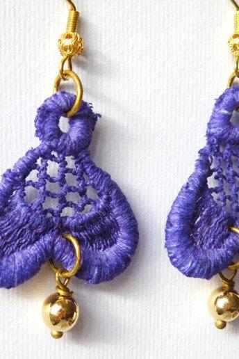 Vintage Purple Lace Hook Earrings Women Accessories Textile Jewelry Italian Fashion by SteamyLab.