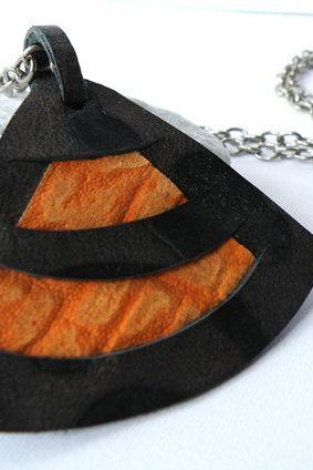 Long Pendant Necklace Leather Jewelry Printed Leather Brown Orange Women Accessories Modern. Handmade by SteamyLab.