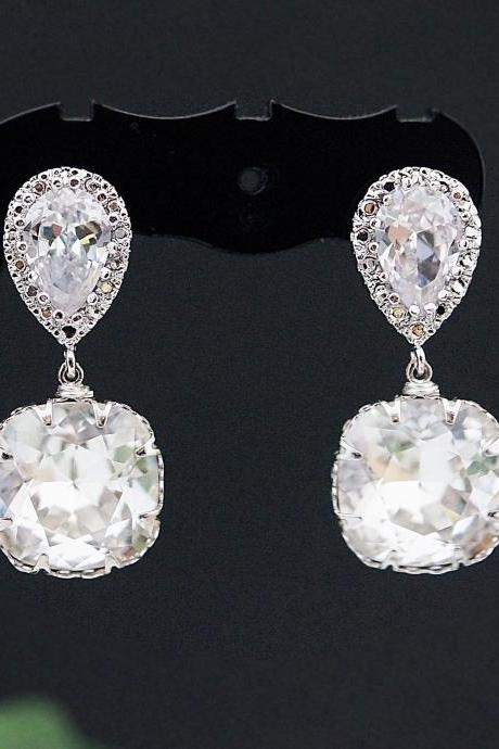 Wedding Earrings Bridal Jewelry Bridal Earrings Bridesmaid earrings dangle earrings clear white Swarovski square drops