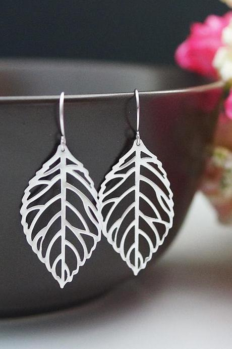Jewelry Dangle Earrings Matte Rhodium leaf charm Earrings . For Her. Gift for Her . Gift Under 20 Gifts
